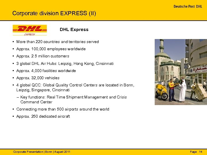 Corporate division EXPRESS (II) DHL Express • More than 220 countries and territories served