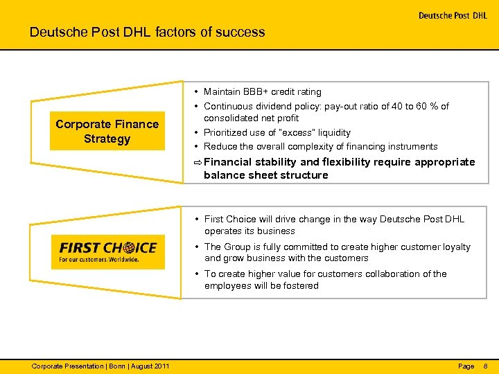 Deutsche Post DHL factors of success Corporate Finance Strategy • Maintain BBB+ credit rating
