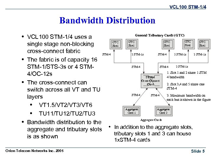 VCL 100 STM-1/4 Bandwidth Distribution • VCL 100 STM-1/4 uses a General Tributary Cards