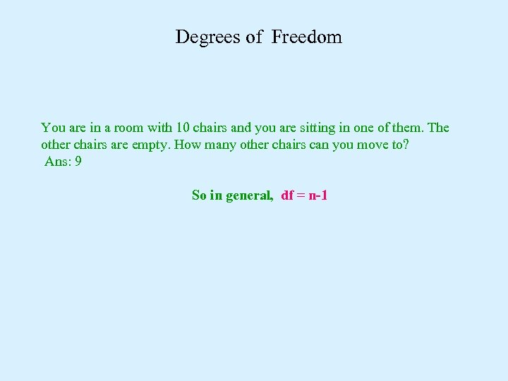 Degrees of Freedom You are in a room with 10 chairs and you are