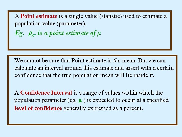 A Point estimate is a single value (statistic) used to estimate a population value