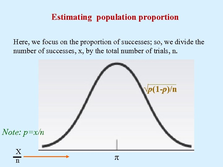 Estimating population proportion Here, we focus on the proportion of successes; so, we divide