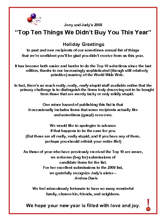 """Jerry and Judy's 2008 """"Top Ten Things We Didn't Buy You This Year"""" Holiday"""