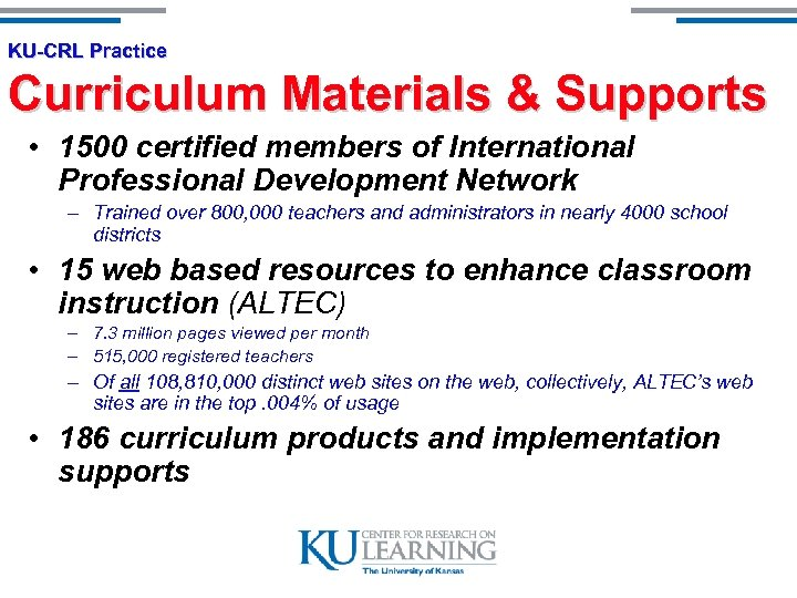 KU-CRL Practice Curriculum Materials & Supports • 1500 certified members of International Professional Development