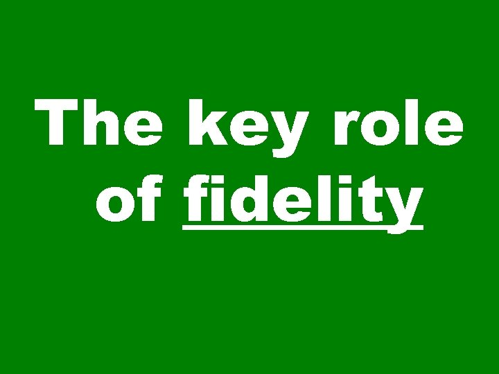 The key role of fidelity