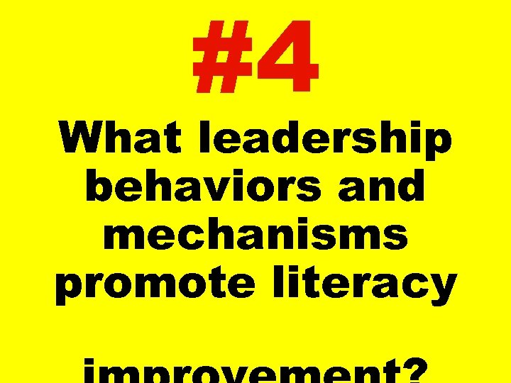 #4 What leadership behaviors and mechanisms promote literacy