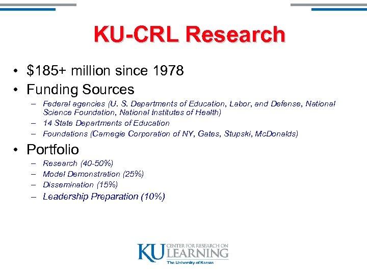 KU-CRL Research • $185+ million since 1978 • Funding Sources – Federal agencies (U.