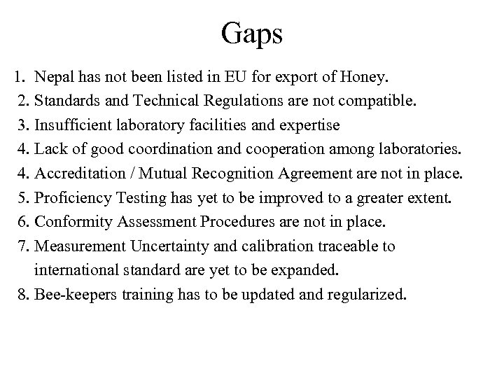 Gaps 1. Nepal has not been listed in EU for export of Honey. 2.