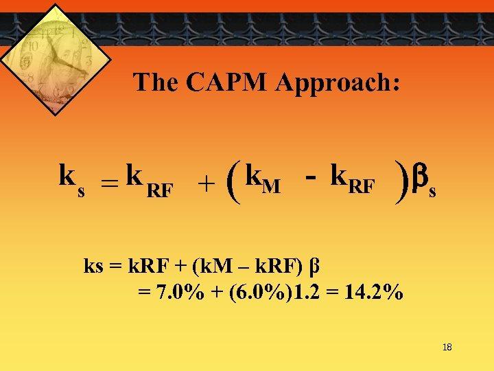 The CAPM Approach: k s = k RF + ( k. M - k.