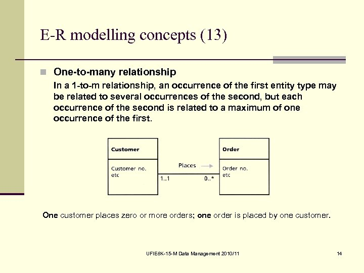 E-R modelling concepts (13) n One-to-many relationship In a 1 -to-m relationship, an occurrence