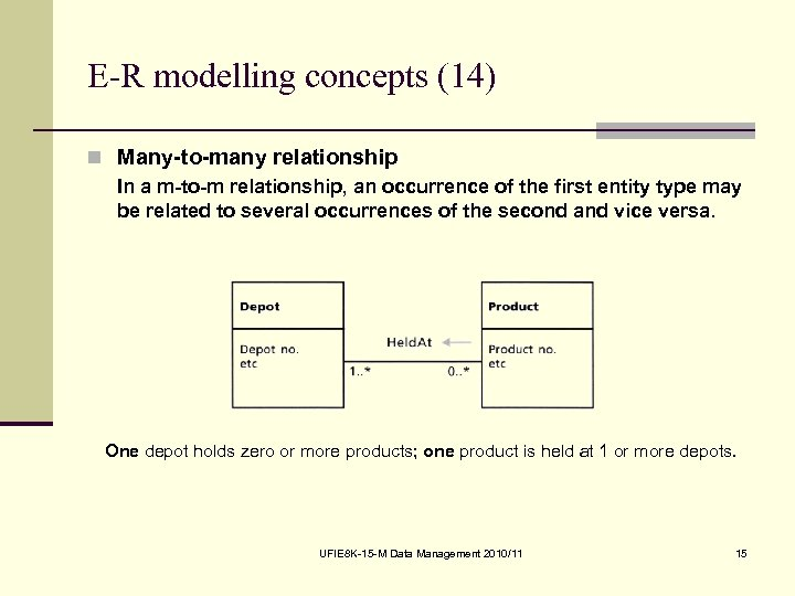 E-R modelling concepts (14) n Many-to-many relationship In a m-to-m relationship, an occurrence of