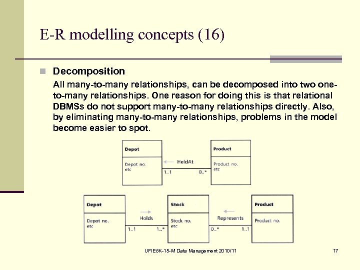 E-R modelling concepts (16) n Decomposition All many-to-many relationships, can be decomposed into two