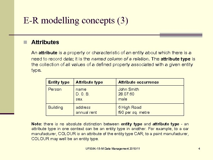 E-R modelling concepts (3) n Attributes An attribute is a property or characteristic of