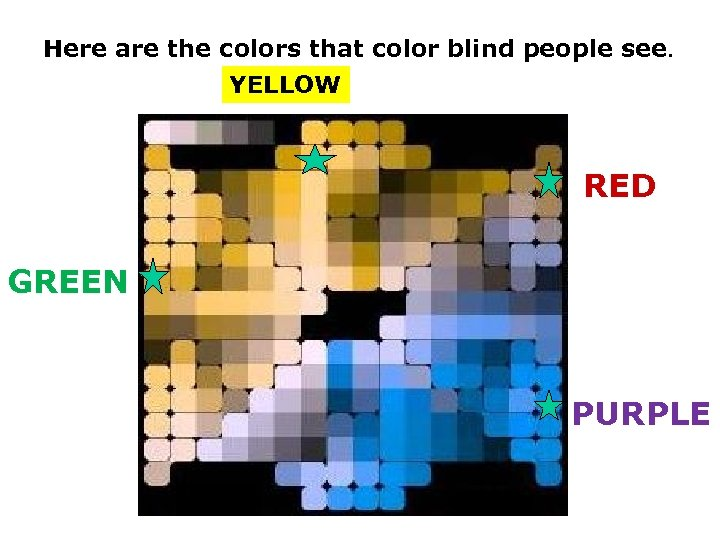 Here are the colors that color blind people see. YELLOW RED GREEN PURPLE