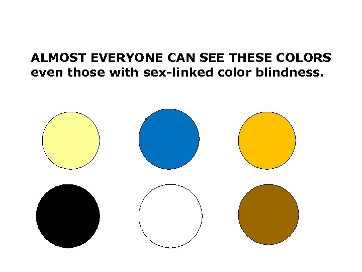 ALMOST EVERYONE CAN SEE THESE COLORS even those with sex-linked color blindness.