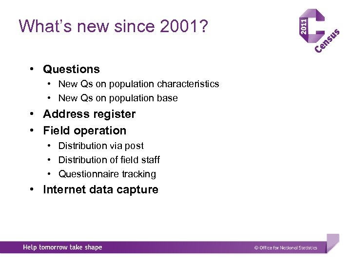 What's new since 2001? • Questions • New Qs on population characteristics • New