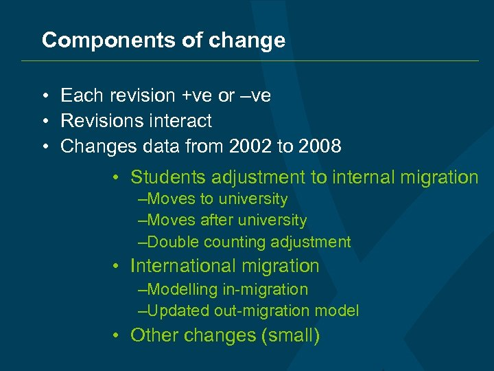 Components of change • Each revision +ve or –ve • Revisions interact • Changes
