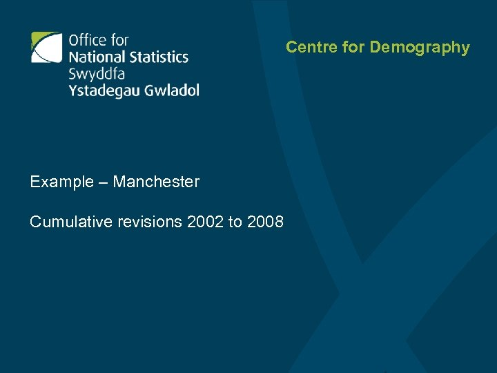 Centre for Demography Example – Manchester Cumulative revisions 2002 to 2008