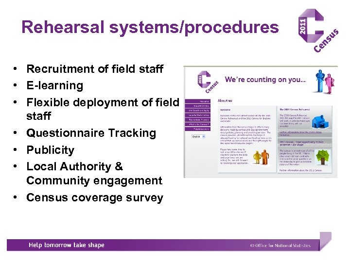 Rehearsal systems/procedures • Recruitment of field staff • E-learning • Flexible deployment of field