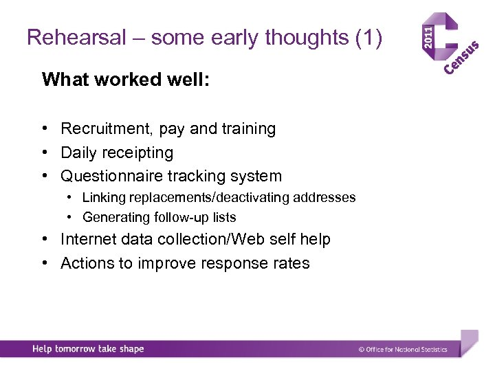 Rehearsal – some early thoughts (1) What worked well: • Recruitment, pay and training