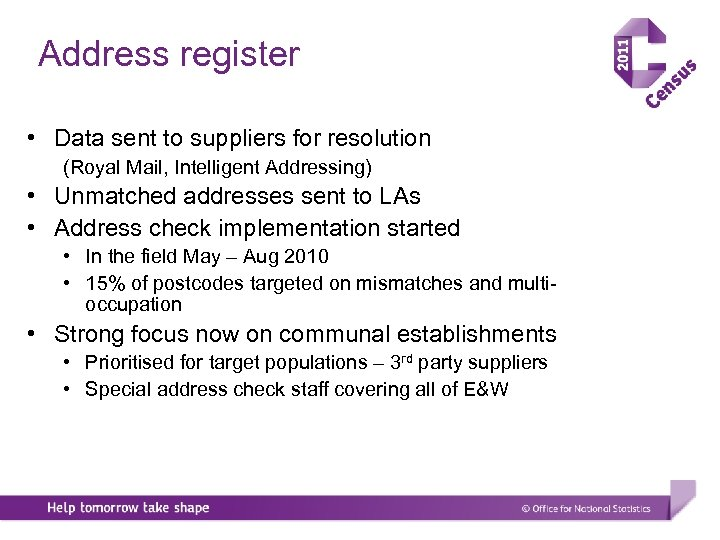 Address register • Data sent to suppliers for resolution (Royal Mail, Intelligent Addressing) •
