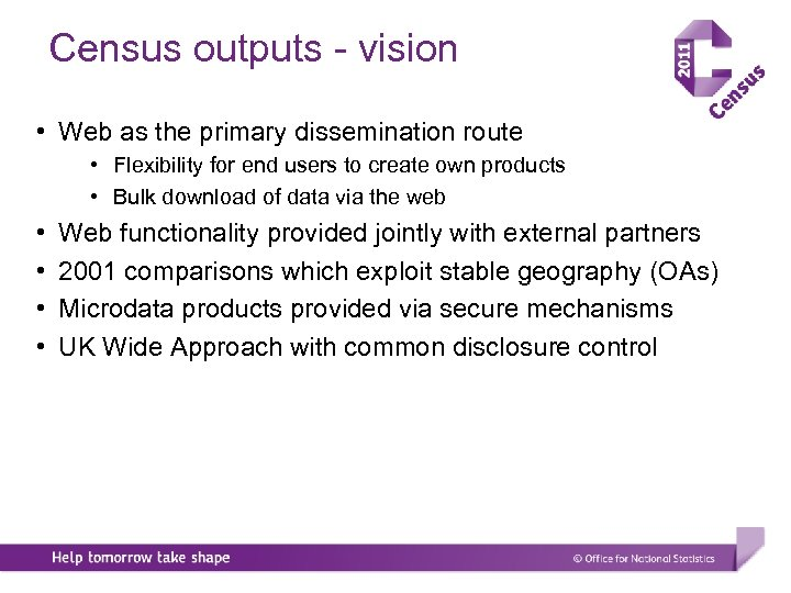 Census outputs - vision • Web as the primary dissemination route • Flexibility for
