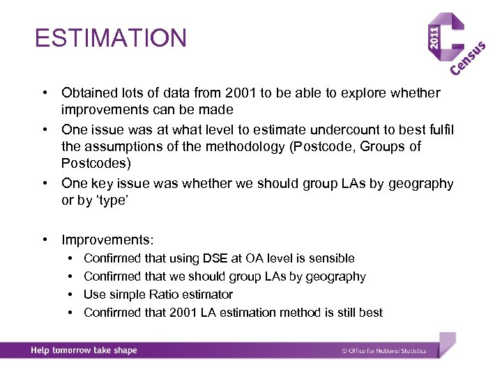 ESTIMATION • Obtained lots of data from 2001 to be able to explore whether