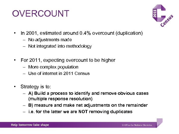 OVERCOUNT • In 2001, estimated around 0. 4% overcount (duplication) – No adjustments made
