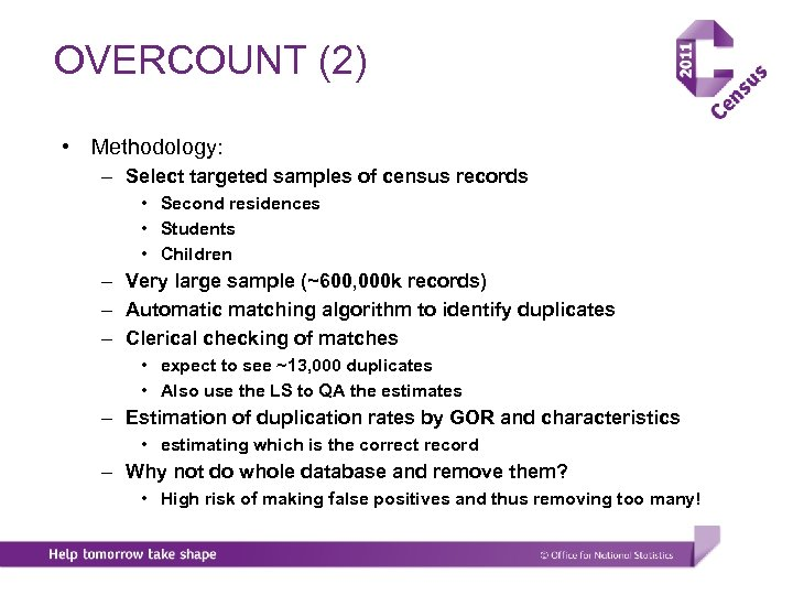 OVERCOUNT (2) • Methodology: – Select targeted samples of census records • Second residences