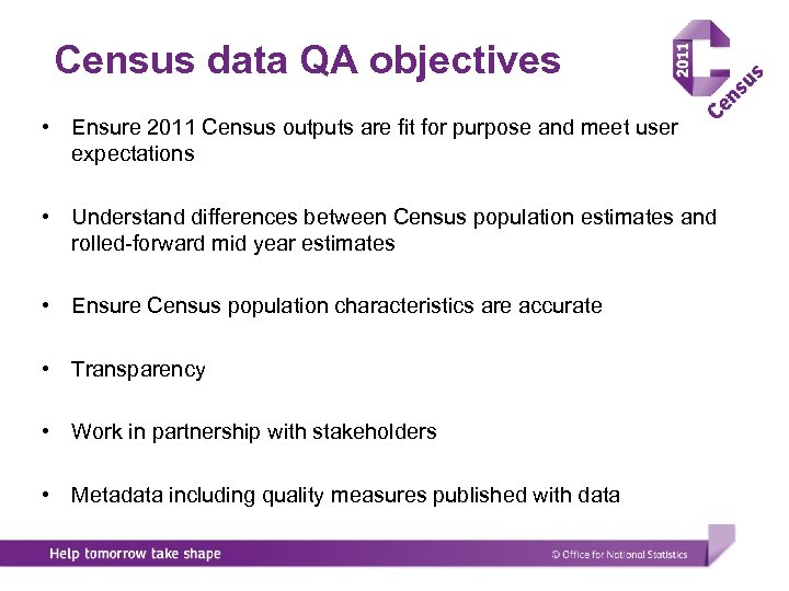 Census data QA objectives • Ensure 2011 Census outputs are fit for purpose and
