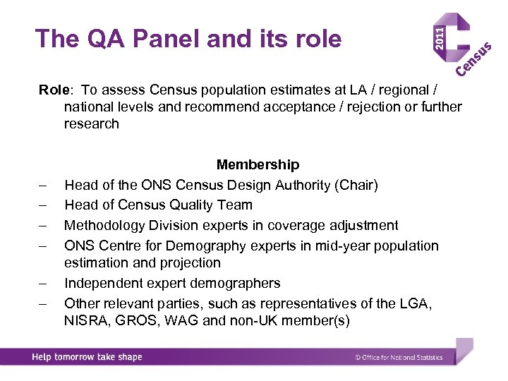 The QA Panel and its role Role: To assess Census population estimates at LA