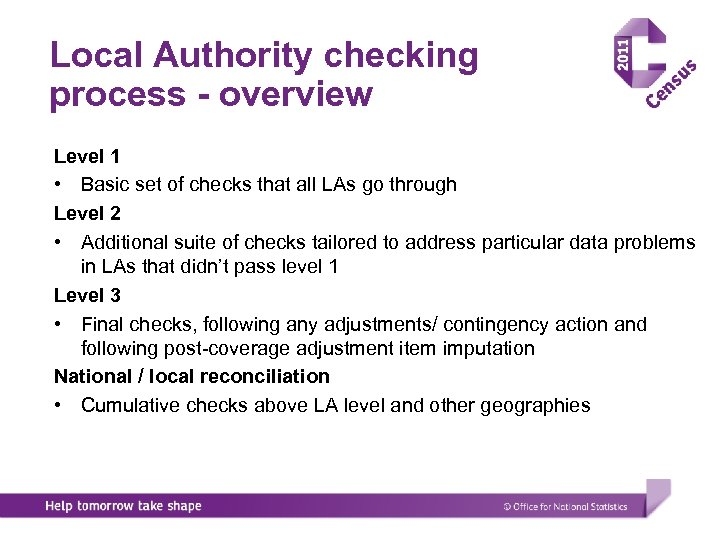 Local Authority checking process - overview Level 1 • Basic set of checks that