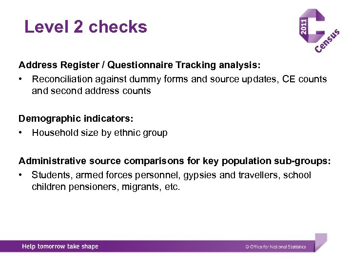 Level 2 checks Address Register / Questionnaire Tracking analysis: • Reconciliation against dummy forms