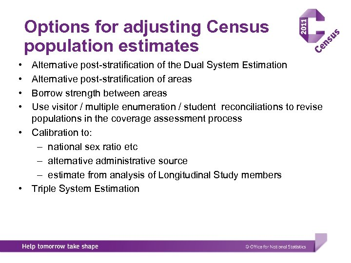 Options for adjusting Census population estimates • • Alternative post-stratification of the Dual System