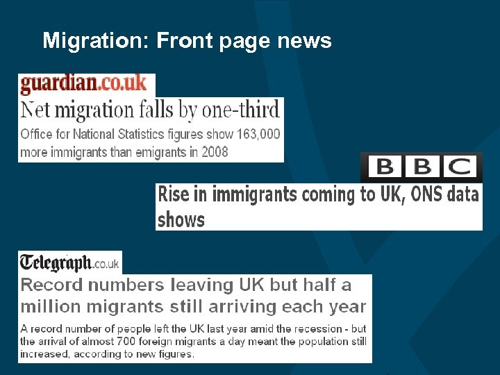 Migration: Front page news