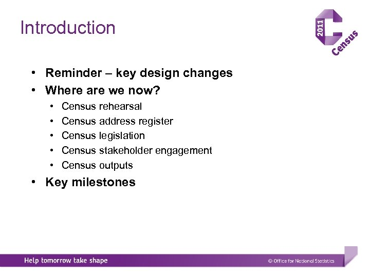 Introduction • Reminder – key design changes • Where are we now? • •
