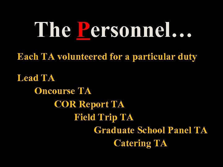 The Personnel… Each TA volunteered for a particular duty Lead TA Oncourse TA COR