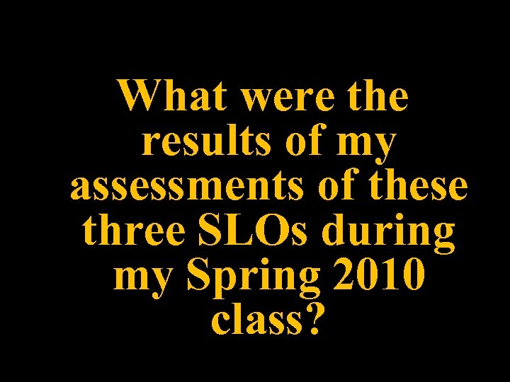 What were the results of my assessments of these three SLOs during my Spring
