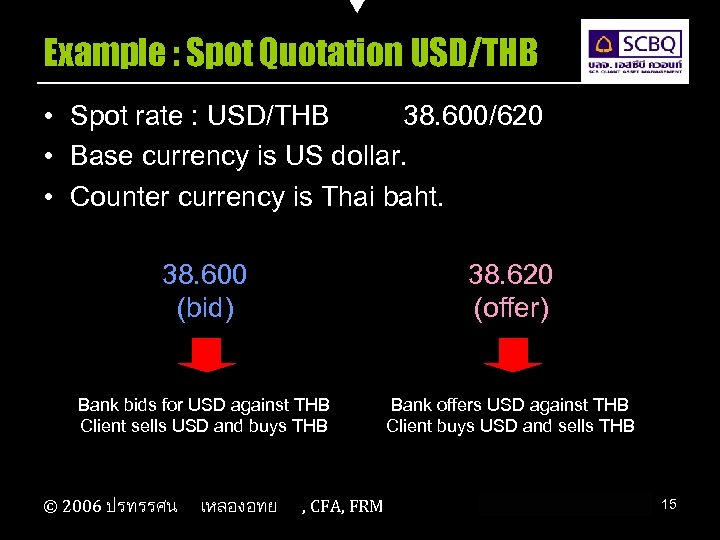 Example : Spot Quotation USD/THB • Spot rate : USD/THB 38. 600/620 • Base
