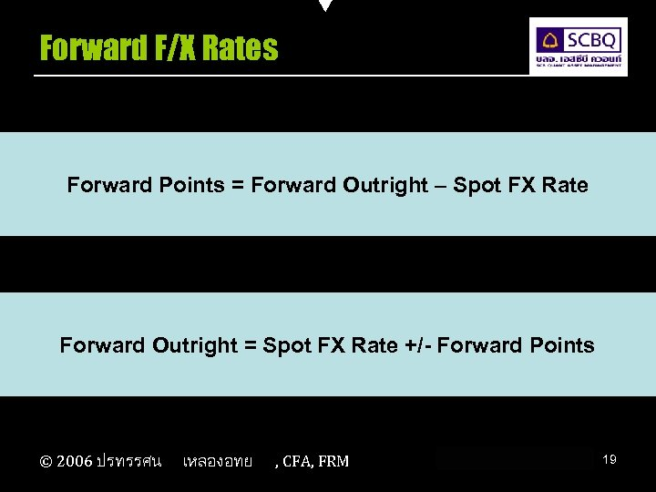 Forward F/X Rates Forward Points = Forward Outright – Spot FX Rate Forward Outright