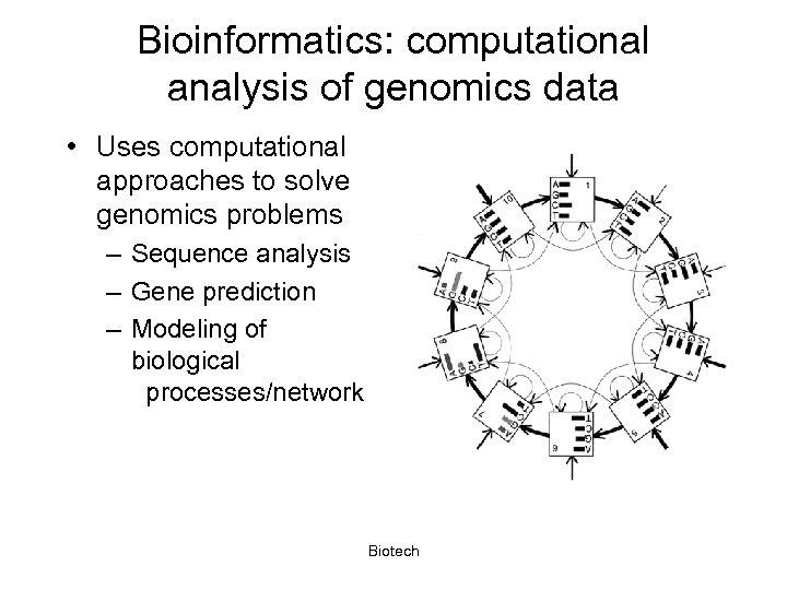 Bioinformatics: computational analysis of genomics data • Uses computational approaches to solve genomics problems