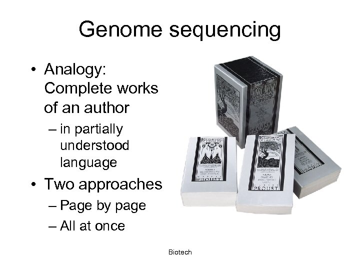 Genome sequencing • Analogy: Complete works of an author – in partially understood language