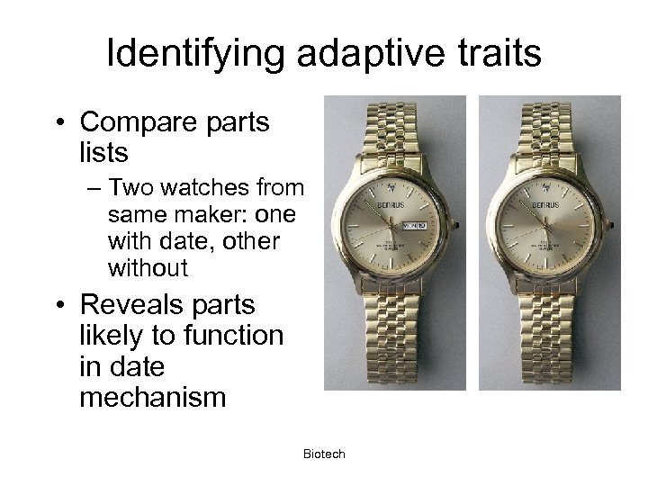Identifying adaptive traits • Compare parts lists – Two watches from same maker: one