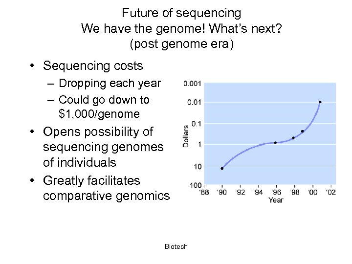 Future of sequencing We have the genome! What's next? (post genome era) • Sequencing