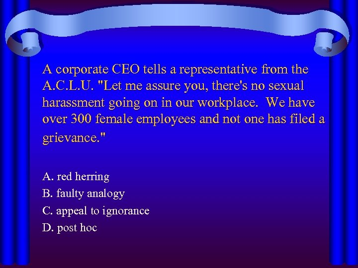 A corporate CEO tells a representative from the A. C. L. U.