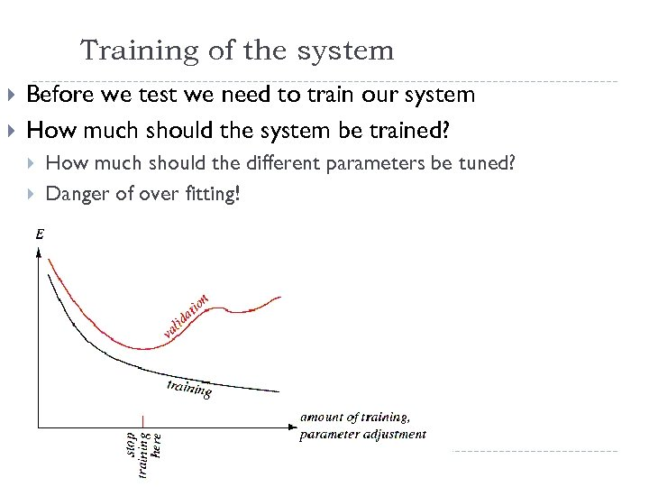 Training of the system Before we test we need to train our system How
