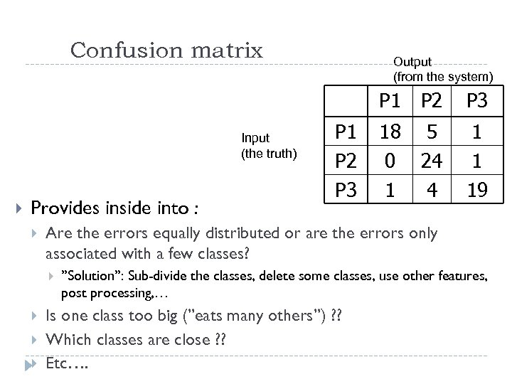 Confusion matrix Output (from the system) P 1 Input (the truth) Provides inside into