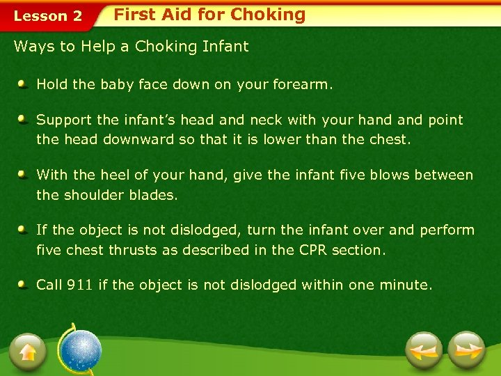 Lesson 2 First Aid for Choking Ways to Help a Choking Infant Hold the