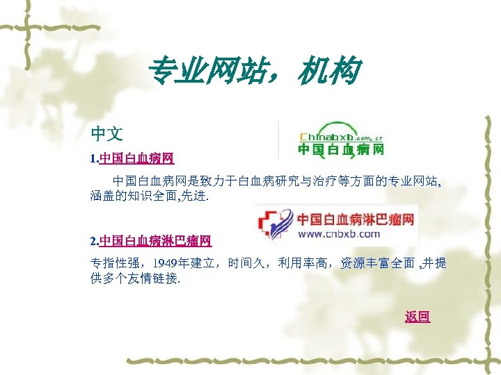 专业网站,机构 中文 1. 中国白血病网是致力于白血病研究与治疗等方面的专业网站, 涵盖的知识全面, 先进. 2. 中国白血病淋巴瘤网 专指性强,1949年建立,时间久,利用率高,资源丰富全面 , 并提 供多个友情链接. 返回