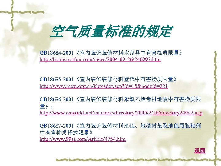 空气质量标准的规定 GB 18684 -2001《室内装饰装修材料木家具中有害物质限量》 http: //home. soufun. com/news/2004 -02 -26/246293. htm GB 18685 -2001《室内装饰装修材料壁纸中有害物质限量》